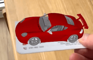 Place a 3D model on a business card